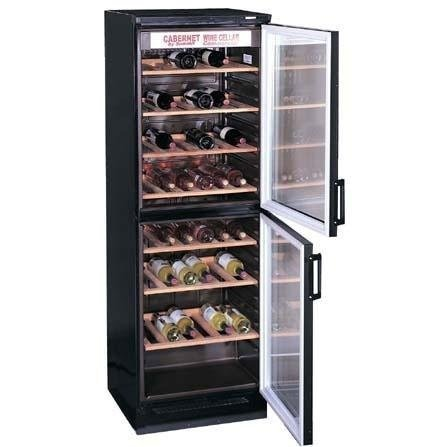 "Summit SWC-1775 24"" Wine Cellar with 100+ Bottle Capacity, 5 Wooden Wine Racks, Fluorescent Light and 2 Tinted Glass Doors"