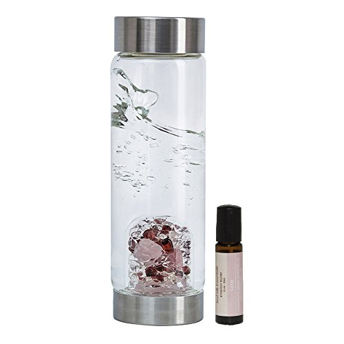 Price comparison product image LOVE Gem Water Bottle by VitaJuwel w / FREE Love Essential Oil. Gemstone Pod Contains Garnet,  Rose and Clear Quartz