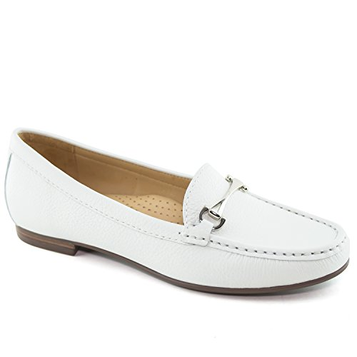 Driver Club USA Women's Fashion Shoes Grand 2 White Grainy Buckle Loafer 8 (More Size/Colors Available) by Driver Club USA
