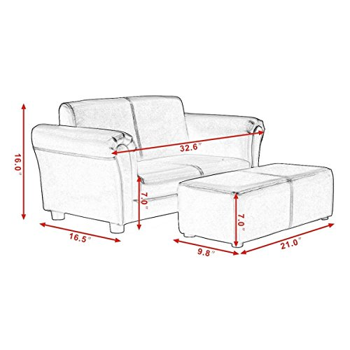 Kids Sofa With Ottoman White Color Armrest Chair Armchair Seat Couch Children Living Room Bedroom Playroom Lounge Lounger Furniture Toddler Gift Comfortable Material Lightweight by Unknown