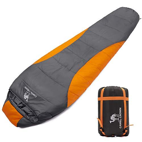 CAMEL CROWN Mummy Sleeping Bag Adults 4 Season Camping Lightweight Sleeping Bag with Compression Combinable Double Sleeping Bag for Camping