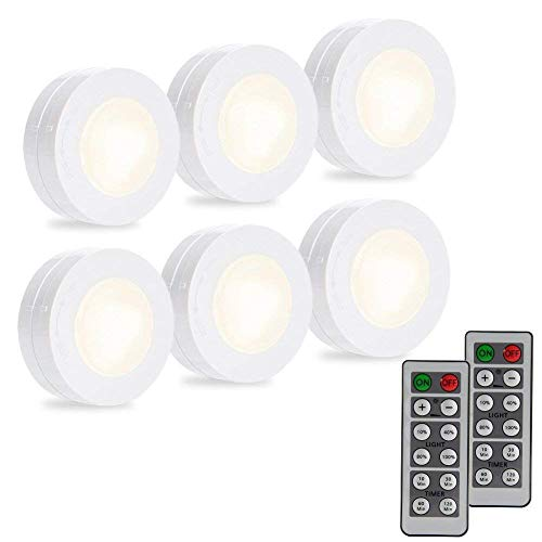DYTesa Wireless LED Puck Lights, LED Under Cabinet Lighting with Remote Control,Closet Light Battery Operated,Dimmable Under Counter Lights for Kitchen,4000K Natural White Light-6 Pack
