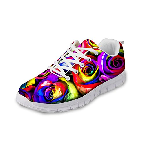 CHAQLIN Womens Stylish floral Slip 1 Running Shoes Non Rose HrHpEqw