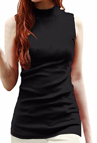 (LIREROJE Women's Sleeveless Mock Neck Top Black L)