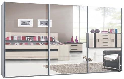 Schwebetürenschrank spiegelfront  Schwebetürenschrank, Schiebetürenschrank, ca. 400 cm, Weiß mit ...