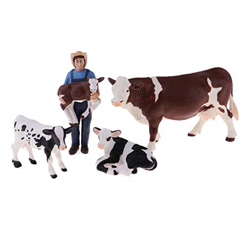 igh Simulation Farm Animals Toys Farmer with 4 Cows Figures Model, Great Educational and Development Toy for Kids Children Toddlers ()