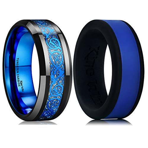 - King Will Men's Blue Celtic Tungsten Carbide Ring & Similar Style Silicone Wedding Band Set Comfort Fit 8