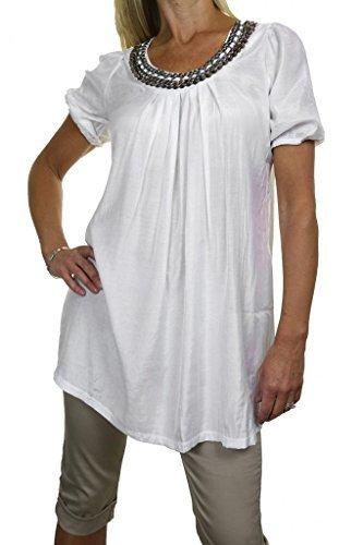 (4038-2) blanca túnica con mangas cortas Shiny Nails Argentés