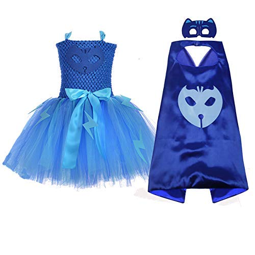 AQTOPS Superhero Costume for Girls Party Tutu Dress with Mask Cape Set Blue, XX-Large -
