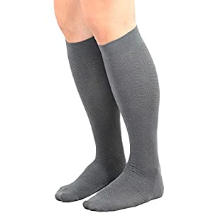 TeeHee Men's Bamboo Dress Over the Calf Socks Assorted Color 3-pack (Black, Grey, Navy)