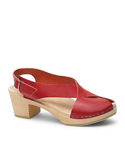 Sandgrens Svenska Hög Klack Trä Täppa Sandaler För Kvinnor | Morocco Röd (vegetabiliskt Garvat Läder)