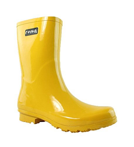 Roma Women's Emma-Short Rain Boot, Yellow, 11 M US (Yellow Wellies)