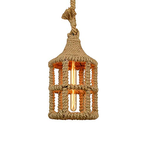 MMJ Chandelier-French Garden Hand-Woven Hemp Rope Lamp Tea Shop Hot Pot Shop Cafe Straw Hat Decorative Lighting (Color : B)