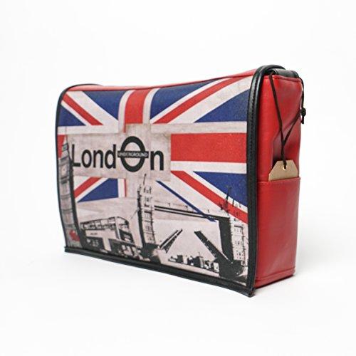 Student - London Print - Benga Rabbit - Red Vegan Leather Messenger Bag by Benga Rabbit