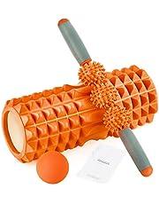 Foam Roller 2-in-1 spiermassage roller 3-delige fitnessset voor diepe weefselspiermassage, schuimroller massage sticker & een massagebal voor sportschool, yoga, pilates & hardlopers therapie revalidatie