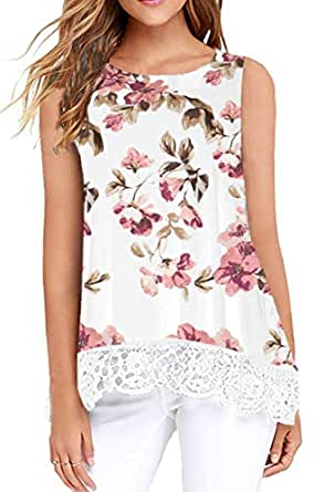 Jescakoo Womens Summer Casual Sleeveless Tops Lace Trim A-Line Flowy Tank Tops - - Small