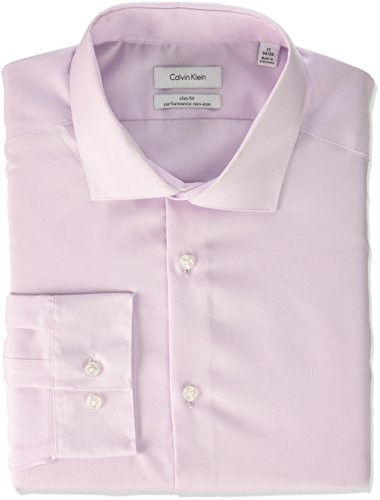 Calvin Klein Men's Non Iron Slim Fit Herringbone Spread Collar Dress Shirt, Pink, 16