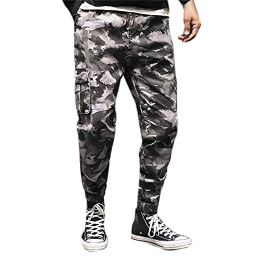 YKARITIANNA Men's Fashion Loose Cotton Camouflage Nine-Minute Haren Trousers Overalls Pants ()