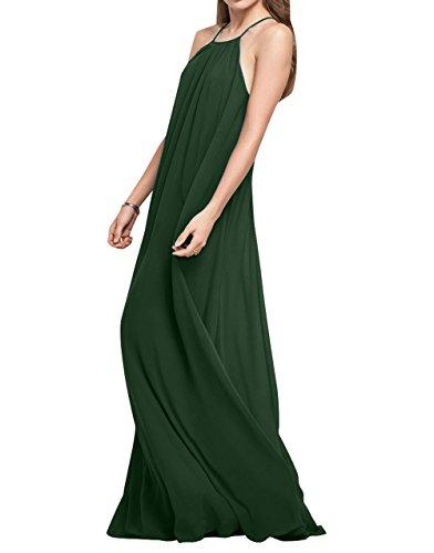 Festlichkleider Lang La Abendkleider Brau Rock Brautjungfernkleider mia Partykleider Einfach Linie A Elegant Chiffon Gruen Dunkel 4n8qaR4H