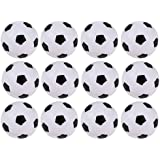 Foosball Balls Pack - 12-Count Mini Table Soccer Balls Replacements - Office and House Entertainment, Sports, Soccer Party and Tailgate Party Supplies, Black and White, 1.4 Inches, 36 mm