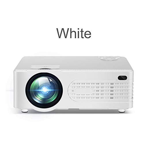 ZKKAW Mini Micro Portable HD Projector, Home Entertainment led Projector, pluggable U Disk, Mobile Hard Disk for Business Office Teaching HD Home,White