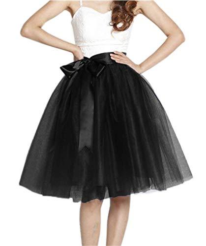 16780b5c641 Women s Midi Knee Length Bowknot 6 Layered Tulle Pleated Skirt High Waist  Princess A LineFor