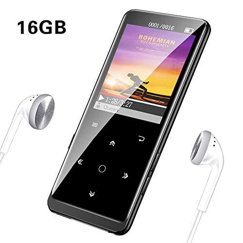 MP3 Player with Bluetooth 4.1, 16GB HiFi Lossless Sound, Mibao Digital Audio Portable MP3 Player, Support FM Radio/Recordings/E-Book/Picture, Support Expandable up to 64G, Headphones Included