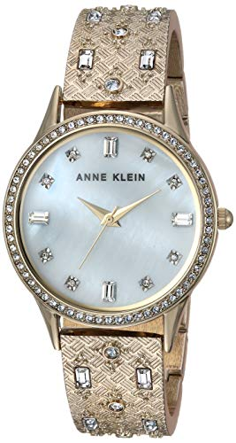 Anne Klein Women's Swarovski Crystal Accented Gold-Tone Textured Bangle Watch
