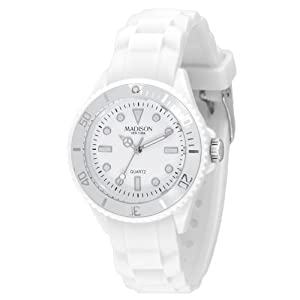 Madison New York – SL4167B – Montre Mixte – Quartz Analogique – Cadran Blanc – Bracelet Silicone Blanc
