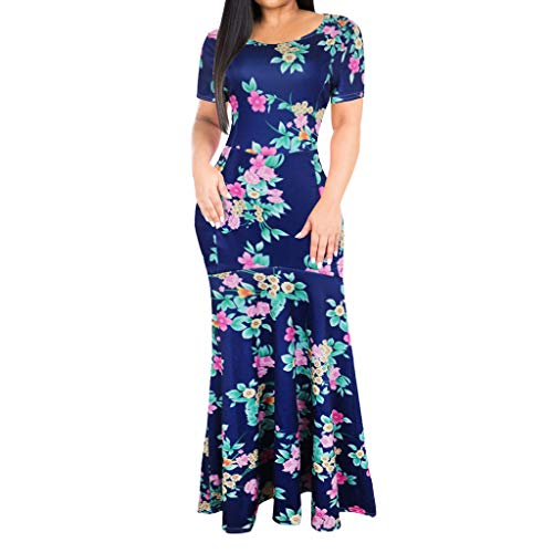 Women Bodycon Swing Maxi Dress, Lady Sexy Elegant Short Sleeve Vintage Floral Print Long Party Cocktail Dresses (X-Large, Dark Blue)