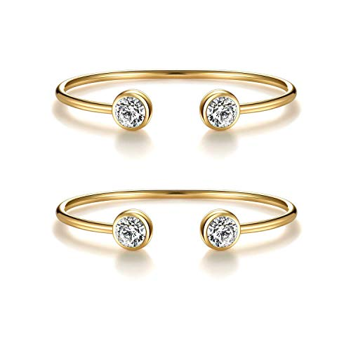 """You & Me"" Inspirational Open Cuff Bangle Bracelets Set - Cubic Zirconia Charm Adjustable Stackable Bangles Gift for Best Friends, Sisters and Mother & Daughter (2 pcs yellow gold bracelets set)"