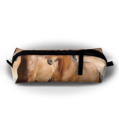 (EWFBVa Durable Zipper Stationery Bag Horses Running Race Big Capacity Pencil Case)