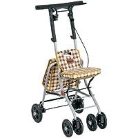 日本【特高步/Tacaof】老人专用助行车 老人购物车 轮椅 便携型老人车 黄色格子  T-PS169