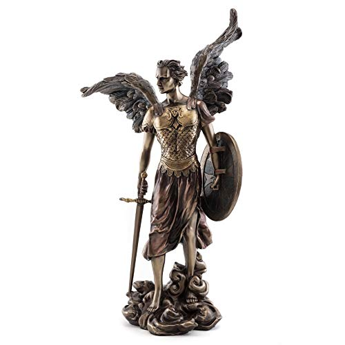 Top Collection Archangel St. Michael Statue -Saint Miguel Champion of Justice Sculpture in Cold Cast Bronze - Perfect Home Decor- 14-Inch Ancient Roman Figurine ()