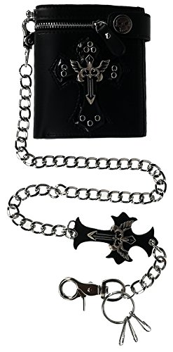 ABC STORY Mens Cool Gothic Black Leather Key Chain Wallet Purse Card Holder For Women by ABC STORY
