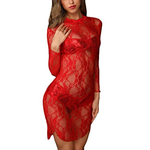(Fitfulvan Womens Sexy Sheer Lace Babydoll Dress Lingerie Longsleeve Mini Nightdress Perspective Comfort Beauty Pajamas Red)