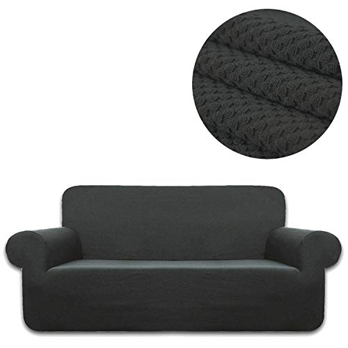 ANJUREN Sofa Loveseat Couch Chair Slipcover Cover 1 Piece 4 Seater T Cushion Large Sofa Couch Slip Cover Shield Protector Stretch Knit Spandex Living Room Furniture Covers (XL Sofa, Gray) (Sofa T Cushion Piece Slipcovers 4)