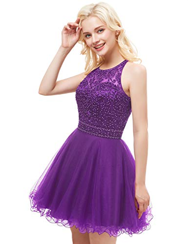 Evening Dresses Prom Aurora 2018 Women's Bridal Gown Beading Homecoming Short Purple AH111 rSXn07qwX