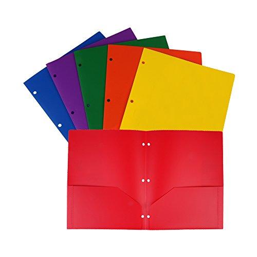Eagle Plastic Pocket Folder, Heavy Duty with 2 Pockets, Letter Size, Assorted Colors, Pack of 6 (3-Hole 2-Pocket)