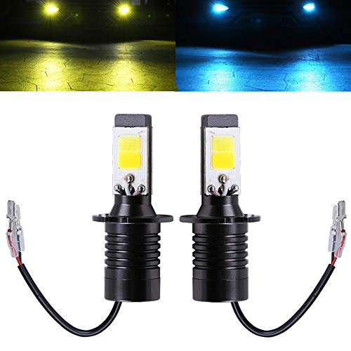 H3 Fog Light Bulb LED Amber Yellow 3000K Ice Blue 8000K Dual Color for Trucks Cars Lamps DRL Daytime Running Lights Kit Replacement Bulbs 12V 30W 2800LM Super Bright COB Chips 1 Year Warranty【1797