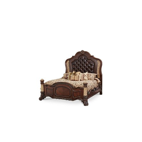 Michael Amini Victoria Palace Panel Headboard, Footboard and Bed Rails & Wood Slats, Light Espresso, Eastern (Victoria Panel Bed)