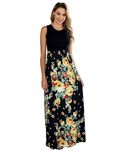Womens Summer Floral Dress - Sexy Lace Floral Print Maxi Flounced Ruffled Dress D-Black