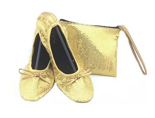 Foldable Carrying Shoes w 18 Case Portable Flat Travel Gold Matching sh18 Sequin Women's Shoes Ballet xvEHrvw