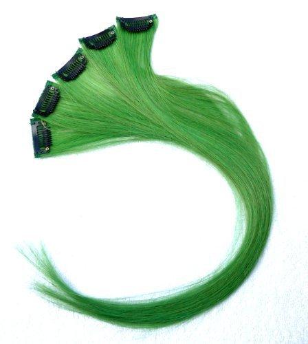 18 Inch High light GREEN Clip in Human Hair Extensions Straight GREEN Clip on Highlights Hair Extensions 6 Pieces/set (#GREEN) by Reyen