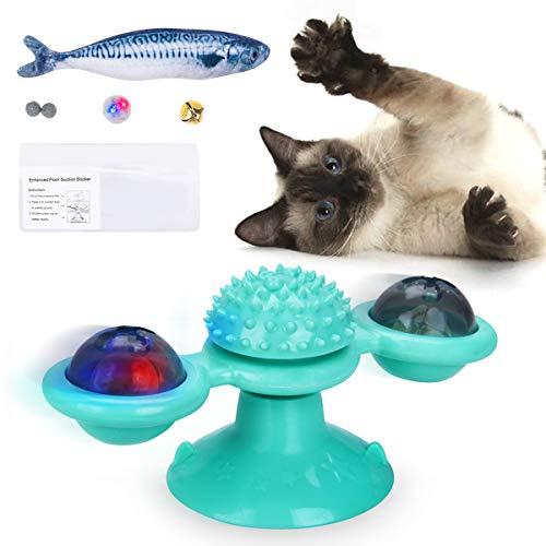 FONPOO Katzenspielzeug, interaktives Windmühle Katzen Spielezeug Mit Katzenminze und Glühender Ball, Katzenspielzeug Set…
