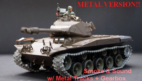 US M41A3 Bulldog Radio Controlled 1/16th Scale Airsoft R/C Battle Tank Upgraded Metal Version Featuring Smokes, Sound, Lights & Metal - Radio Scale Controlled Tank Battle