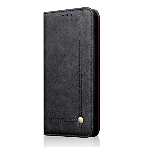 Samsung Galaxy S10 Leather Wallet Case,TACOO Black Slim Kickstand Fold Card Money Slot Protective Phone Men Women Boy Cover Shell Compatible with S10 2019 6.1 inches