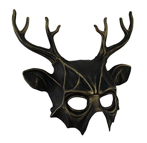 Deer Costume Stag (Metallic Finish Deer Antlers Half Face)