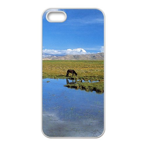 SYYCH Phone case Of Blue sky meadow and Horse Cover Case For iPhone 5,5S