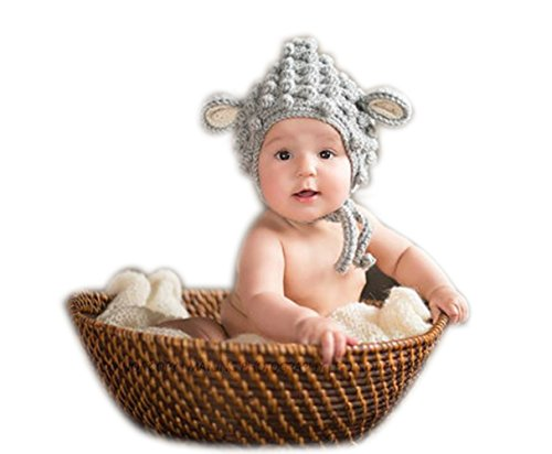 Fashion Newborn Boy Girl Baby Costume Outfits Photography Props Cute Lamb Hat Grey